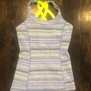 Lululemon Size 4 Blue and Neon Yellow Tank Top